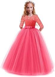 OBEEII Bambina Vestito Principessa in Pizzo Manica Mezza Abbigliamento Bambine Invernale Eleganti Abito Princi