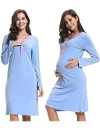 Hawiton Camisón Lactancia Pijama Embarazada Algodón Ropa para Dormir Premamá Manga Corta Hospital Invierno Verano