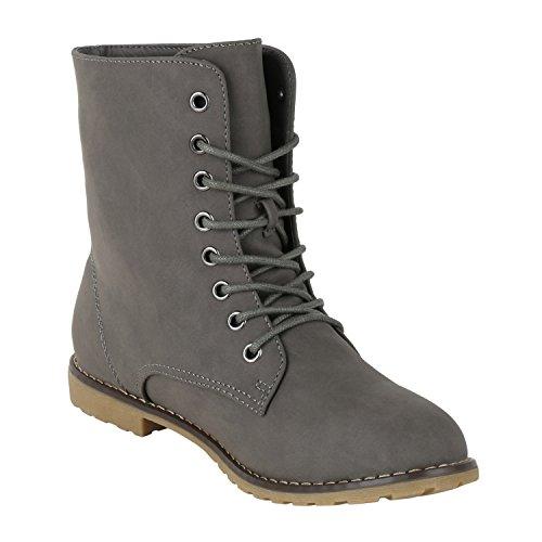 napoli-fashion Gefütterte Damen Stiefeletten Worker Boots Schnürstiefel Jennika Grau Stone