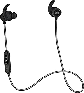 JBL Reflect Mini BT Wireless Bluetooth In-Ear Sweat Resistant Sports Headphones with Highly Reflective Cable, Universal 3-Button In-Line Remote and Microphone - Black