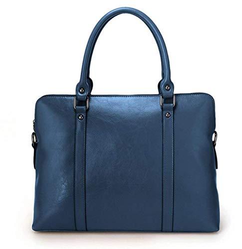 Lock-aktentasche Aus Leder (GKBMSP Frauen Designer Business 14 Zoll Laptop Tote Bag Echtes Leder Büro Dame Elegante Aktentasche Satchel Top-Griff,Blue)