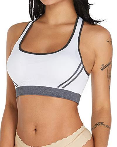 KISSLACE Damen Sport BH Starker Halt Kreuz Rücken Ohne Bügel Yoga Bra Bustier Top Geschmeidig Push Up Stretch Running BH Weiß XL=EU75D,80C,85B -