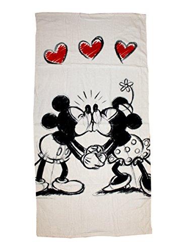 Faro Disney Minnie Love Mickey Maus Badetuch Strandtuch, Baumwolle, Mehrfarbig, 140 x 70 cm