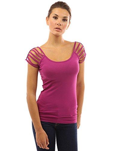 PattyBoutik femmes top manches courtes encolure dégagée à épaules dénudées modéré framboise