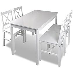 vidaXL Mesa de madera con 4 sillas de madera Set de muebles Blanco Juego Comedor