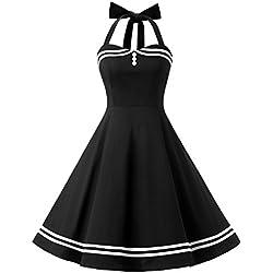 Vestido Cóctel Corto Vintage 50s Cuello Halter Vestido De Fiesta Rockabilly Mujer Negro S