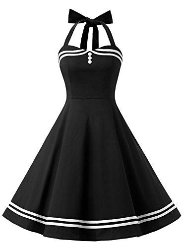 Timormode Rockabilly Kleider Neckholder 50s Vintage Kleid Retro Knielang Kleider Damenkleider Festlich Cocktailkleider 10387 Schwarz 3XL