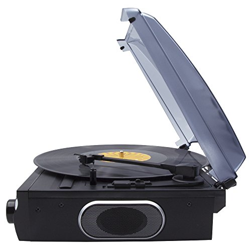 Lauson CL611 Tocadiscos de Vinilo | USB | Altavoces Incorporados | Belt Drive Turntable with Built- In Speaker (Negro)