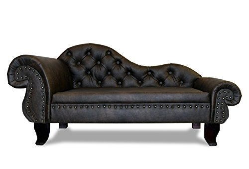 Produktbild bei Amazon - Edy Design Hundesofa Chesterfield Recamiere Paris XXL Antik Kaffee Hundebett Chaiselongues