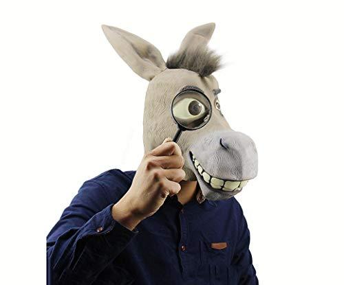 DUBAOBAO Halloween-Maske, Lustige Tierische Esel-Wig-Latex-Maske, Halloween-Maske Teufel Latex-Ball, Schwarze Halloween-Maske