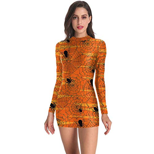 LOPILY Kleider Damen Halloween Kleid Damen Figurbetont Grüselige Kürbis Druckkleid Skelett Halloween Kostüm Damen Eleganter Freizeitkleid für Halloween Party Bodycon Kleid (Orange, 32)