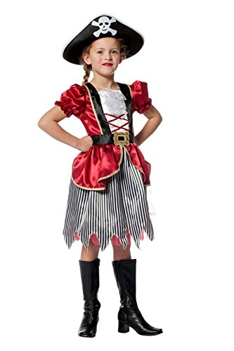 Piraten-Kostüm Mädchen Piraten-Kleid Schwarz Weiß Kinderkostüm Pirat Freibeuter Karneval Fasching Hochwertige Verkleidung Fastnacht Größe 128 Dunkelrot (Schwarz Und Weiß Mädchen Kostüm)