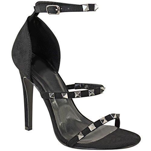 Sandales à talons aiguilles - brides très fines à clous - pour soirée - femme Faux suède noir/clous argentés