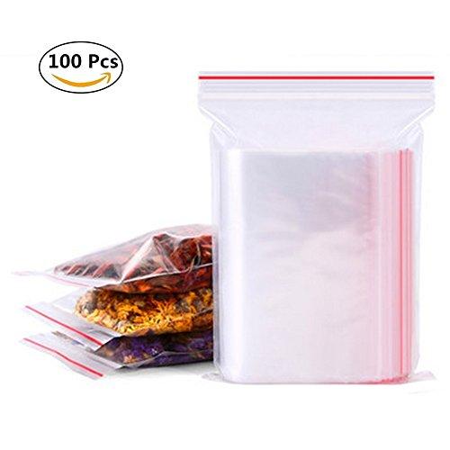100Taschen, Plastiktütchen woopower 4x 6cm PE transparent Ziploc wiederverschließbaren Kunststoff Poly bags-strong wiederverwendbar Schmuck Aufbewahrungstasche (Kleine Zip-lock-beutel)