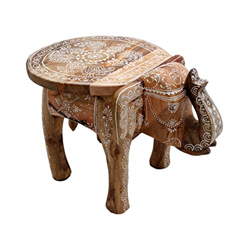 Gall&Zick Elefanten Hocker Couchtisch Beistelltisch Sofatisch Dekotisch Mangoholz Handbemalt Orientalisch Indisch Handarbeit Deko Mandala