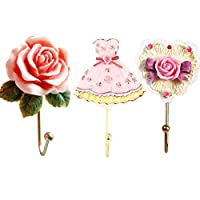 Evoio 3PCS Wall Hooks Rose Flower/Heart/Dress Resin Wall Mounted Vintage Hook Hanger Organizer for Bathroom Towel Clothes Rack Coat Hat Robe Pink