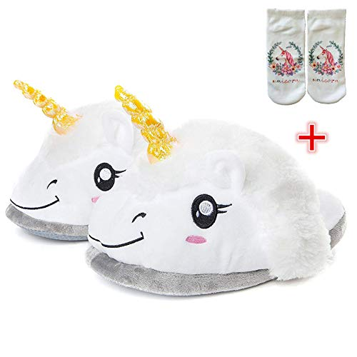 SKY TEARS Zapatillas de Felpa Unicornio, Zapatillas de Estar por casa Zapatos Peluche Unicornio para Adulto Talla Europea: 35-44 (Blanco-A)