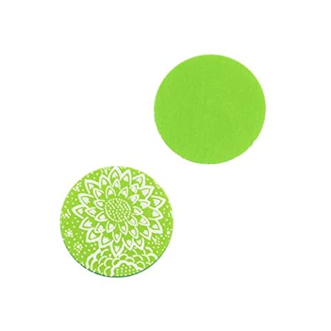 Lillypilly Aluminum Circle Stamping Lime Green W/ Lotus Flower 16mm (2) by Lillypilly Designs