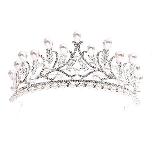 (Luckycs Brautschmuck Kopfschmuck Blatt-Set Strass Perle Legierung Braut Krone Stirnband Brautjungfer Kopfschmuck Geburtstagsfeier,Silver)