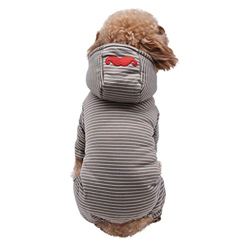 Wintermantel Kapuzenmantel Winterjacke Hawkimin Plüsch Welpenmantel Neue Einfaches Gestreiftes Streifen Warme sportlicher Hundejacke Sweatshirt mit Kapuze Warmer Hoodies -