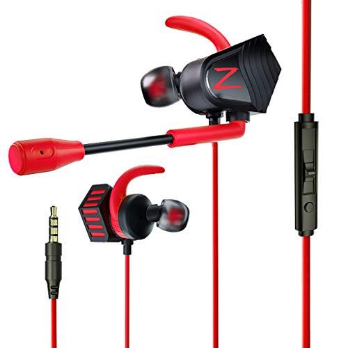 feiXIANG Gaming Kopfhörer Kopfhörer mit 3,5 mm Stereo Driver Doppi In-Ear Kopfhörer Gaming Bass Schwere für PC - Audio Surround/Acustic Isolierung/Sudore Taglia unica rot