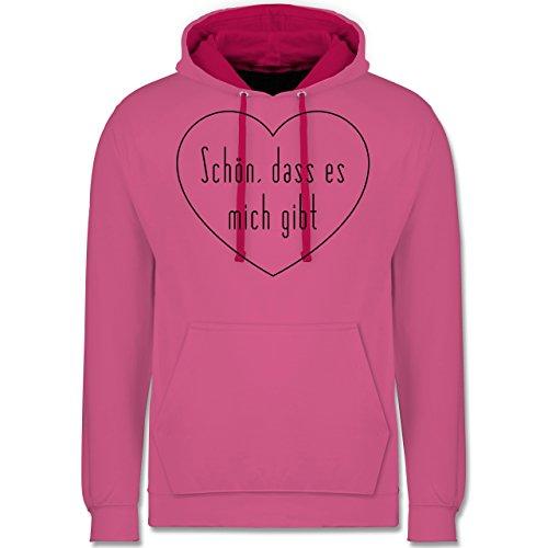 Statement Shirts - Schön, dass es mich gibt - Kontrast Hoodie Rosa/Fuchsia
