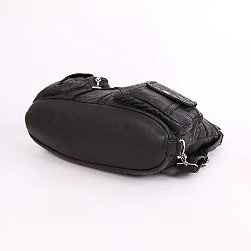 Angelkiss 2 Top Cerniere multi tasche Borse Lavato borse in pelle borse a spalla zaino AK678 Nero