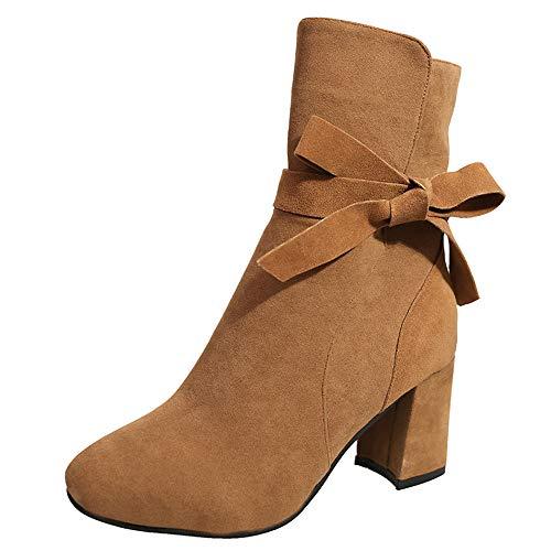 Stiefeletten Damen Schuhe ABsoar Boots Stiefel Frauen Ankle Boots High Heels Plateau Knöchel Stiefel Dünne Ferse Nieten Schnürstiefel Reißverschluss Schnallen Blockabsatz Schuhe