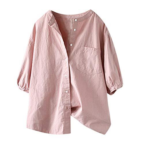 CANDLLY Bluse Damen, Mode Damen Sommer Lässiger Solide halbe Plain Basic T-Shirt Top Bluse Button Up ()