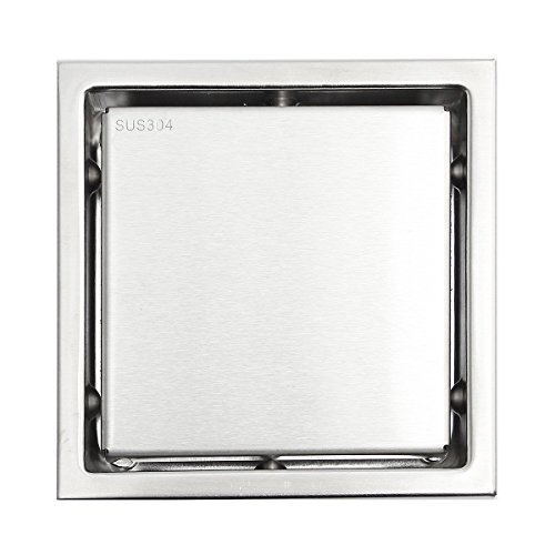 JIAJU Flieseneinsatz 11x11cm Badezimmer Quadrat Bodenablauf 304 Stainles 11 X 11-quadrat