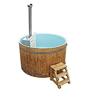 Badezuber Hottub Round 2,00 M with Innenofen Made from spruce Wood-Includes 27kW Stove-Assembled, with plastic insert