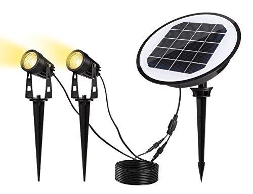 Gartenleuchte Solar, S & G LED Solarleuchte Solarlampe Außenleuchte Pflanzenstrahler Rasenlicht Gartenbeleuchte Wegbeleuchte Wasserdicht 3000K Warmweiß mit Optischer Sensor für Baum, Wiese, Garten (6 Monatige Behandlung)