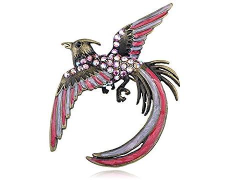 Vintage Inspired Aurora Borealis Crystal Rhinestone Cool Phoenix Bird Brooch