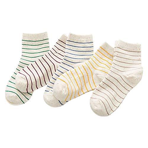 5Pair Damen Söckchen, Streifenmuster Baumwolle Atmungsaktiv Antibakteriell Geruchsneutral Sportliche Yogastrümpfe -
