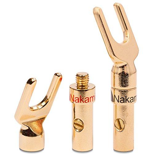 UC-Express-8x-High-End-Nakamichi-Bananenstecker-Bananas-Banana-fr-Kabel-bis-6mm-24K-lt-oder-schraubbar-vergoldet-kein-Plastik-in-schwarz-und-rot