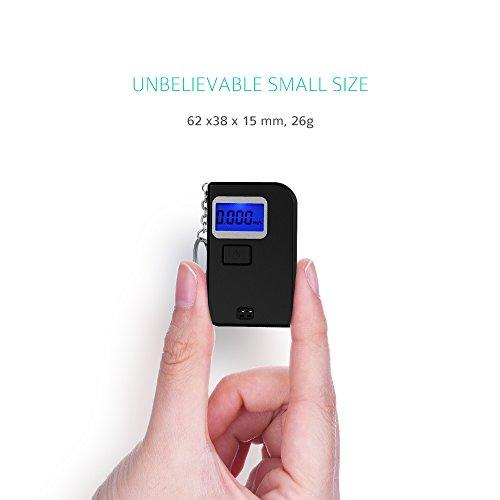 Mini Éthylotest Électronique TopElek Alcootest Obligatoire Certifié Compacte avec Porte-Clé, Affichage Précise avec Écran LCD Rétro-Éclairage + 5 Embouts