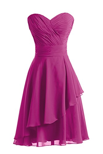 Gorgeous Bride Fashion Herz-Ausschnitt A-Linie Knielang Chiffon Abendkleid Festkleid Ballkleid Fuchsia