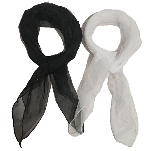 1950er Jahre Square Chiffon Schal Sheer Square Neck Head Scarfs für Frauen, Mädchen, Damen (black+white)