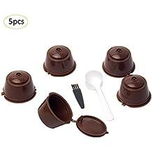 LiféUP 7 PCS Coffee Capsules Cup Set Taza de Filtro de café Combinado con Cuchara Cepillo