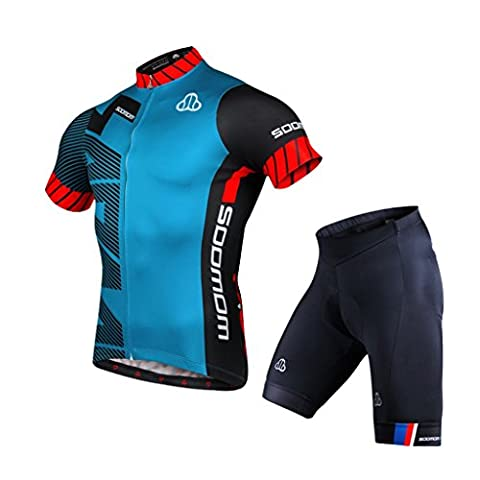 Summer Mens Pro Jersey de cyclisme Veste de vélo thermique à froid + Racing Bib Tight Set ( Color : Blue , Size : L )