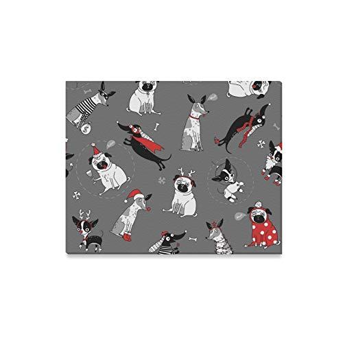 JOCHUAN Wandkunst Malerei Lustige Textur Hunde Weihnachten Kostüme Drucke Auf Leinwand Das Bild Landschaft Bilder Öl Für Home Moderne Dekoration Druck Dekor Für Wohnzimmer