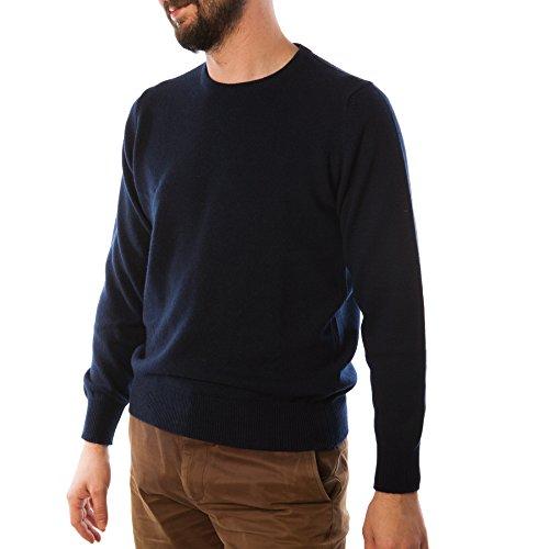 Hawick tricot Men's T-Shirt à col ras de cou Pull cachemire Bleu Marine