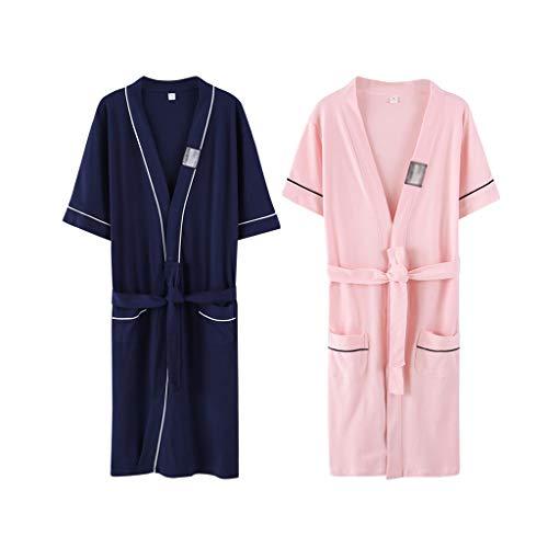 Lian Sommer Paar Nachthemd Weibliche Baumwolle Dünnschliff Sexy Kurzarm Dampfanzug Lange Sauna Anzug Bademantel Pyjamas Bademantel Männlichen (Farbe : A2, größe : M) -