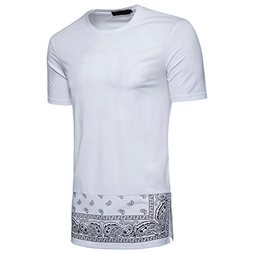Herren Männer Lang Kurzarm T-Shirt Hip-Hop Hemd Rundhalsausschnitt Tops,Weiß,XXL