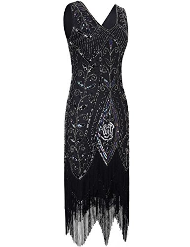 PrettyGuide Femmes Ann¨¦es 1920 Art Deco Paillette Frange Charleston Robe be Cocktail Noir