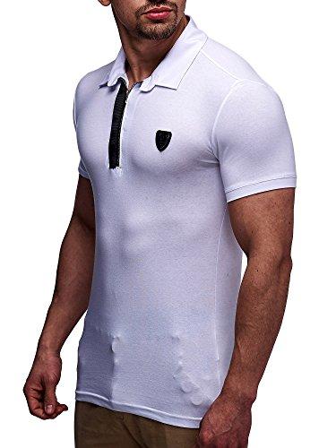 LEIF NELSON Herren T-Shirt Poloshirt LN0220 Weiß