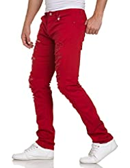 BLZ jeans - Jean homme rouge ultra skinny troué