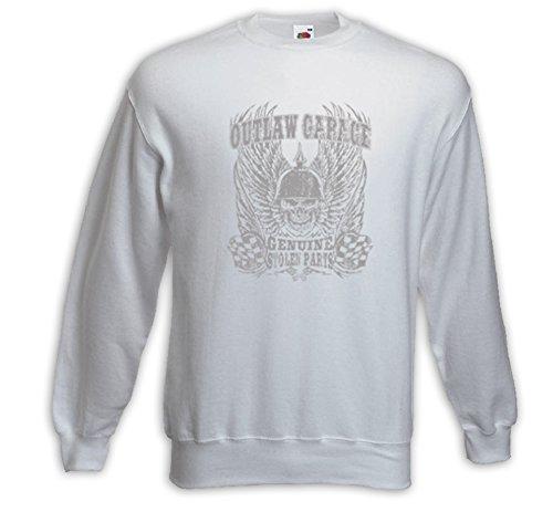 Biker Pullover Outlaw Garage weiß US Chopper Skull Hog V8 Bike Weiß