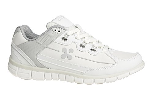 Oxypas Oxysport 'Sunny' Slip-resistant, Antistatic Leather Nursing Trainers, White/Blue (Light Blue), 6.5 UK (40 EU) Bianco (White (Lgr))