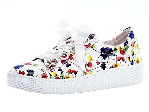 Gabor Damen Low-Top Sneaker 23.330.90, Frauen Halbschuh,Schnürschuh,Strassenschuh,Business,Freizeit,Weiss/Multicolor,37 EU / 4 UK